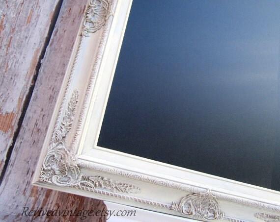 "RUSTIC WEDDING DECOR For Sale Vintage White Rustic Framed Menu Board Chalk board Vintage Wedding 31""x 27"" Shabby Chic Magnetic Chalkboard"