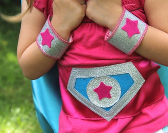 Kids Halloween - Sparkle PERSONALIZED Girls SUPER HERO Costume - Includes Initial cape plus 3 accessories - wrist bands - hero belt - mask