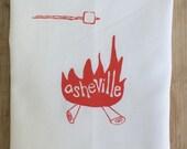 Tea Towel. Asheville, NC. Orange. Hand Screen Printed.