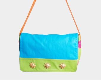 Vintage 90s RAINBOW Sun Plaque PURSE / 1990s Bright Neon Shoulder Bag