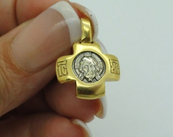 Russian Orthodox Cross 925 sterling silver & 24K Gold Pendant from hollyland. GIFT!  (c p439)