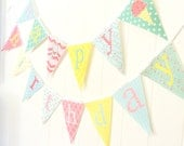 Happy Birthday Bunting, Happy Birthday Banner, Fabric Pennant Flags, Shabby Chic, Ice Cream, Photo Prop, Party Garland, Happy Birthday Sign