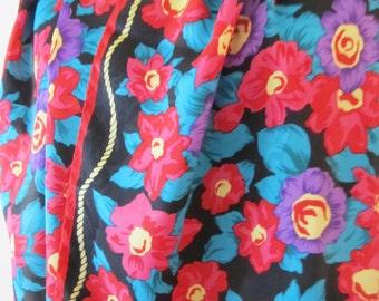 Vintage Retro Floral Scarf / 1960's Long Black & Red Neck Tie Scarf