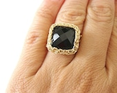 Black Onyx Ring, Wide Band Ring, Square Ring, Black Gemstone Ring, Gold Onyx Ring, Gold Square Ring, Crochet Wire Ring