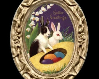 Easter Bunnies Miniature Dollhouse Art Picture 6829
