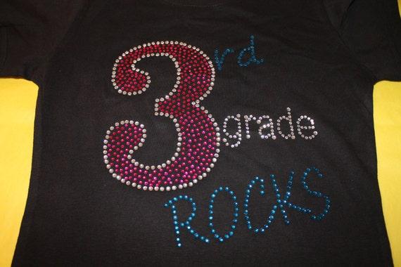 2nd Grade ROCKS Bling Tees and Tanks, Customized with any grade, 3rd grade shirt, 1st grade shirt, School Bling Shirt, 4th grade shirt,