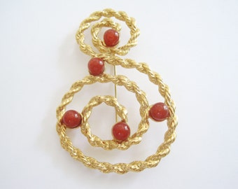 Vintage Gold Tone Swirled Rope Brooch with Dark Red Glass Beads by Avon