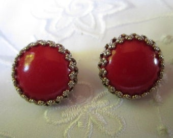 Vintage Round Domed Red Glass Clip On Earrings