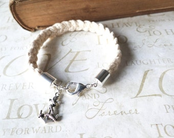 KNOTTY v.4 braided nautical rope bracelet with anchor charm (silver)
