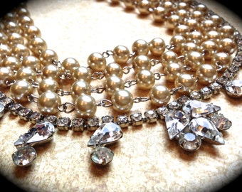 Chunky Pearl Necklace Rhinestone Wedding Necklace Bridal Statement Necklace Champagne Pearl Wedding Jewelry Vintage (Tom Binns Inspired)