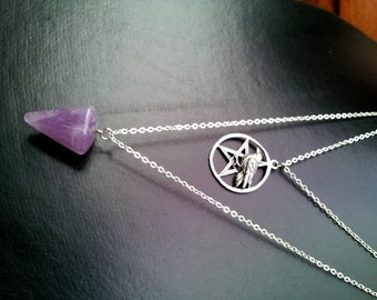 Celtic Raven and Pendulum, Layered Necklace - FREE SHIPPING WORLDWIDE