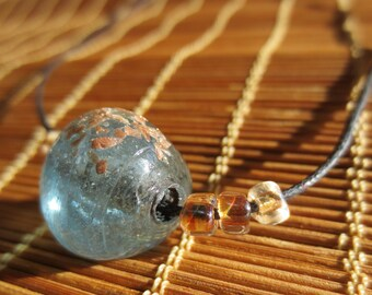 Aquamarine and Copper Glass Beads: Adjustable Cord Necklace N313