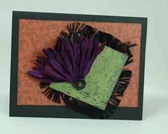 Floral Fan Halloween Card - Single