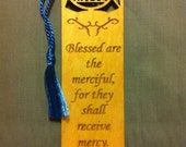 Wood Scripture Bookmark - Beatitudes Matthew 5:7 - Blessed are the Merciful