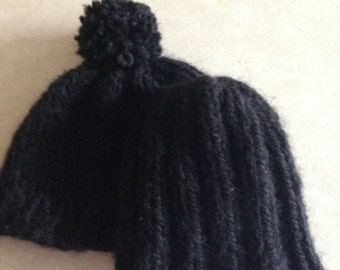 Two Knit Preemie baby hats acrylic yarn (black color)