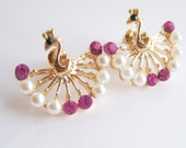 Lovely Peacock Earrings Gold Fuchsia / Raspberry  White  Colors Gold Tone Post Earrings Earrings Ferry Creek Vintage FREE SHIPPING
