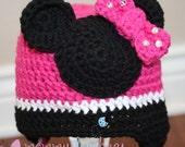 Minnie Mouse inspired Crochet Earflap Beanie - Newborn through 4T Sizes