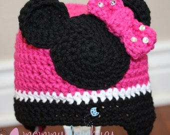 Minnie Mouse inspired Crochet Earflap Beanie - Newborn through 4T Sizes