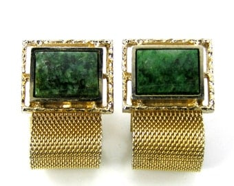 Vintage Cuff Links, signed Dante, Green Serpentine and Gold