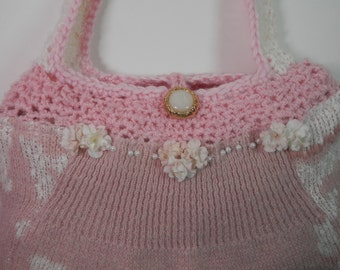 10 x 13 Mauve Pink & White Sweater Purse Knit Crochet Upcycle Hand Design Re Styled Repurposed Bridal Wedding Dollar Card Bag Tote Gift Idea