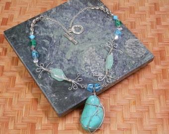 "16"" Avant Garde Necklace Turquoise Nugget Silver Tone Wire Wrap Teardrop Pendant Silvertone Swarovski Crystals Handcrafted OOAK Design Gift"