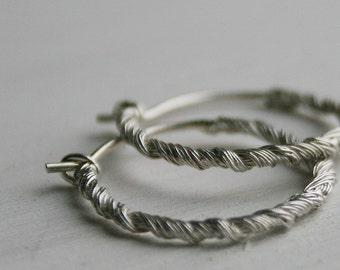 Beading hysteria - solid sterling silver creoles, sterling silver hoop earrings