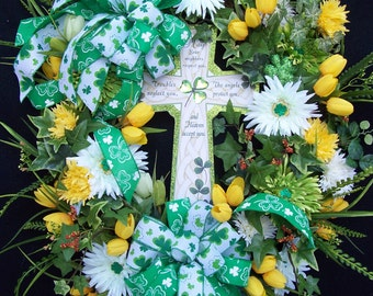 St. Patricks Day  Spring Wreath  With Cross
