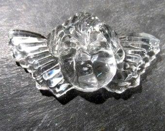 Glass Angel Cherub Ornament Suncatcher VINTAGE Clear Glass Angel Cherub One (1) Victorian Angel Cupid Wings Ornament Assemblage (N16)