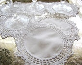 Antique French Linen Doily Set of Six from AllieEtCie