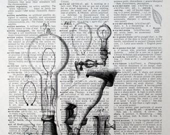 Vintage Dictionary Art Print - Steampunk Lightbulb