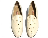 Vintage Stefani Dk. Cream/Tan/Gold Leather Studded Dress Heels Shoes Sz 8