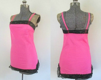 1960s Mod Full Mini Slip Hot Pink Black Lace Saramae Lingerie // B. Altman & Co.