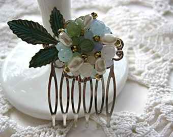 Light turquoise blue and green floral hair comb, bride, bridesmaid, flower girl, mother, verdigris leaves, woodland, barn, rustic, country