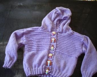 Hand knit girl's lavender hoodie cardigan