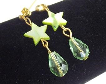 Green Crystal Star Shell Earrings