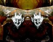 Devil Stud Earrings  Sterling Silver Free Domestic Shipping