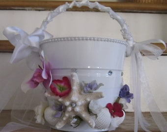 Calla Lilies and Orchid Exotic Flower Girl Pail
