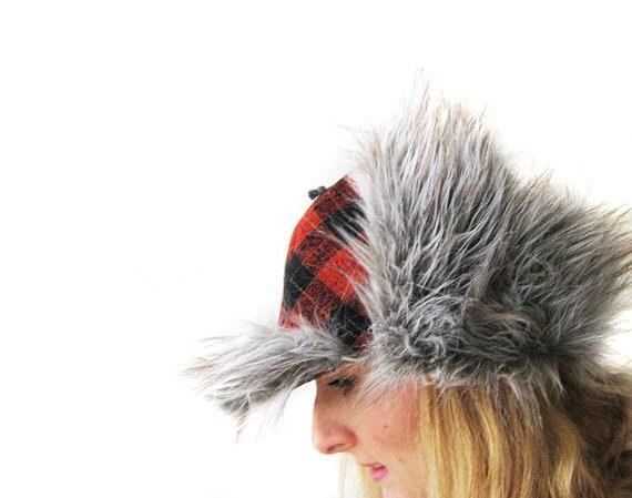 Tweed Hat Winter Gift Unisex Ginger Black Brown Hunting Fishing Cap Plaid Fake Fur Gray Grey Tweed