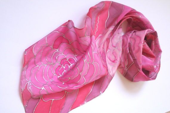Pink Scarf- floral scarf- floral fantasy- Roses. Hand Painted Silk Scarf. Barbie Pink. Feminine Scarf. 11x 60 inches. 11