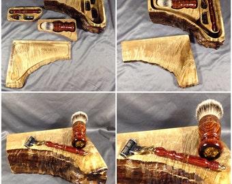 Reserved for KetMatt: Engraved travel shaving kit box men's Razor Handle Mach 3 Gillette handmade wood men's gifts Personalized badger hair