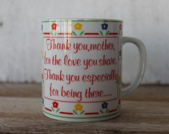 """Vintage Coffee Mug, """"Thank you, Mother..."""""""