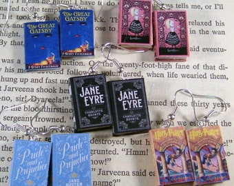 Miniature Classic Novels Book Earrings One Pair You Pick The Book You Want Any Book Made To Order