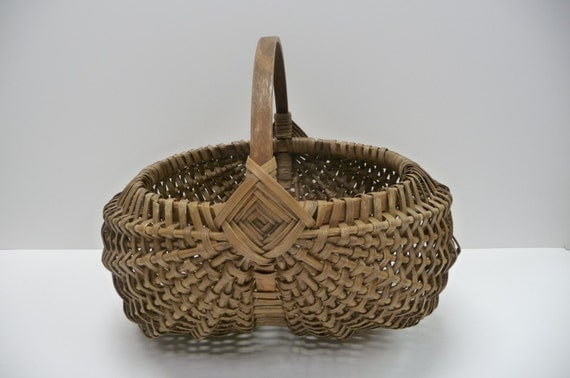 Antique Woven Egg Basket : Vintage wood basket butt woven rattan egg by salvagerelics