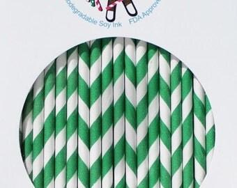 Hunter Green Stripe Paper Straws- Box of 144