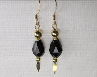 Black Crystal Teardrop Earrings Dangle Gold Spear Pins Gold Beads Bead Caps