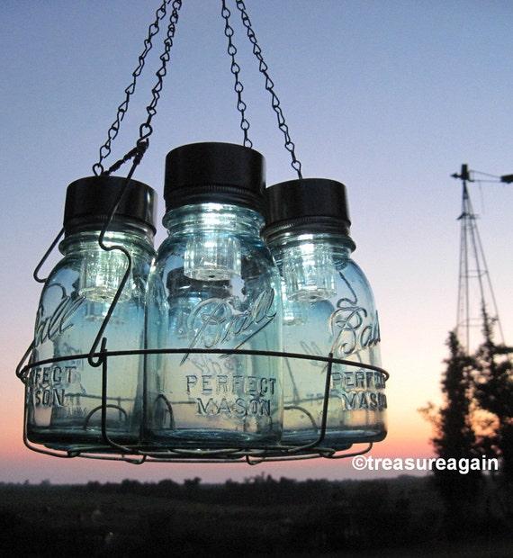 Mason Jar Chandelier: Solar Mason Jar Chandelier Mason Jar Hanging Chandelier