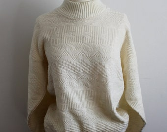 SALE Ivory Mock-Neck Sweater with Geometric Pattern Size Small or Medium
