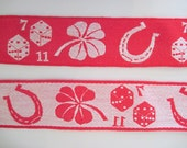 Luck be a Lady, 5 yards of vintage 1970s Trim - red & white with dice, horseshoes, and four leaf clovers - 70s, fabric, sewing, craft