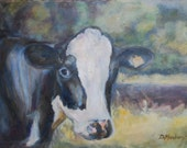 Reserved, Holstein Cow, Cow Painting, Bovine Painting, dairy cow, cow in landscape, cow portrait, cow in landscape, cow head, Original oil