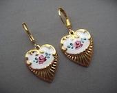 Gold Heart Earrings - Antique Style Jewelry - Guilloché Style Earrings - Victorian Earrings - Heart Jewelry - Rose Earrings - Victorian Gift